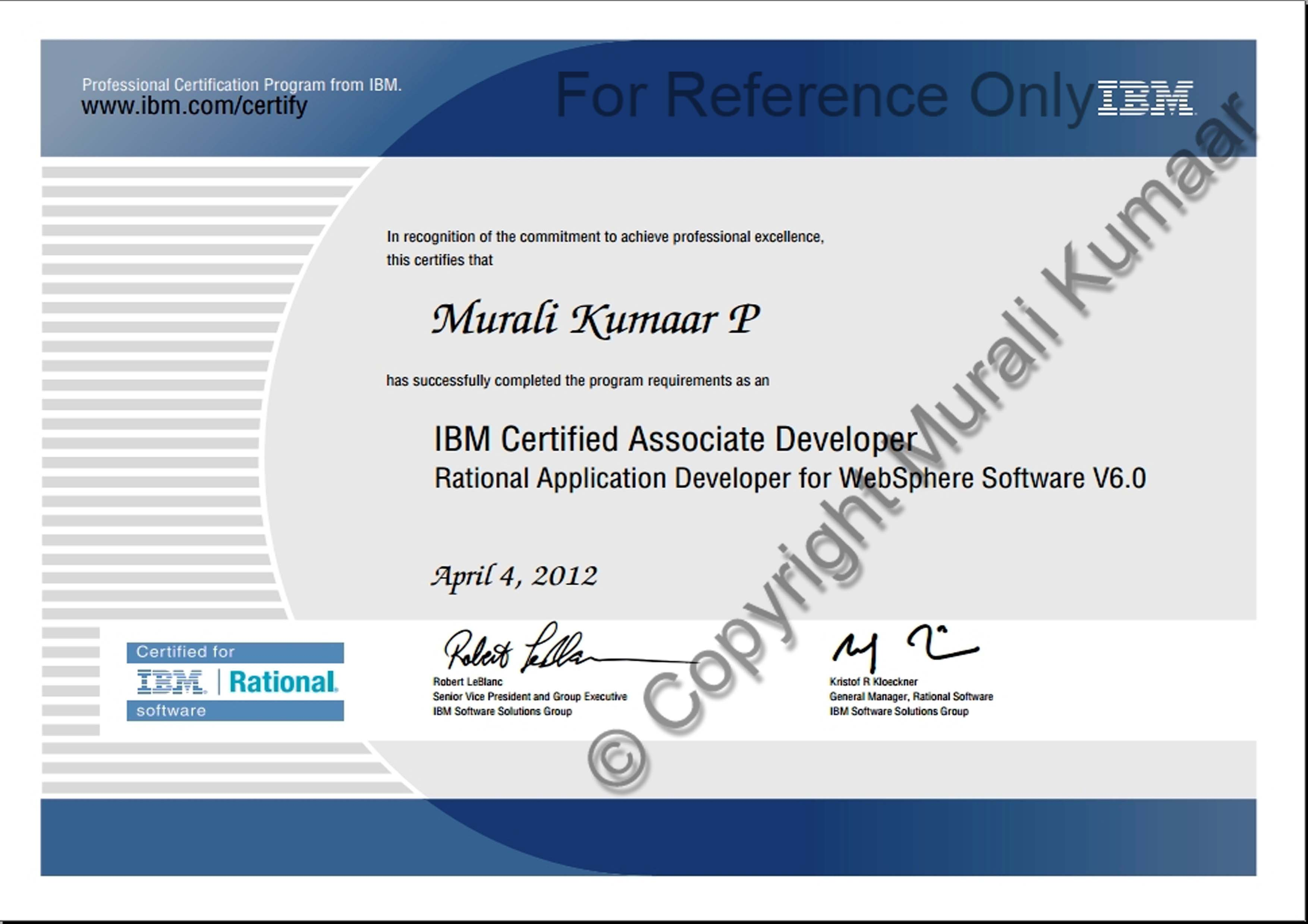 IBM Certified Associate Developer Certificate